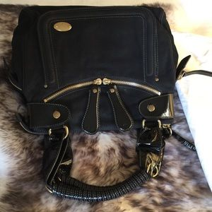 Authentic Chloe Bay Suede And Patent Leather Bag L
